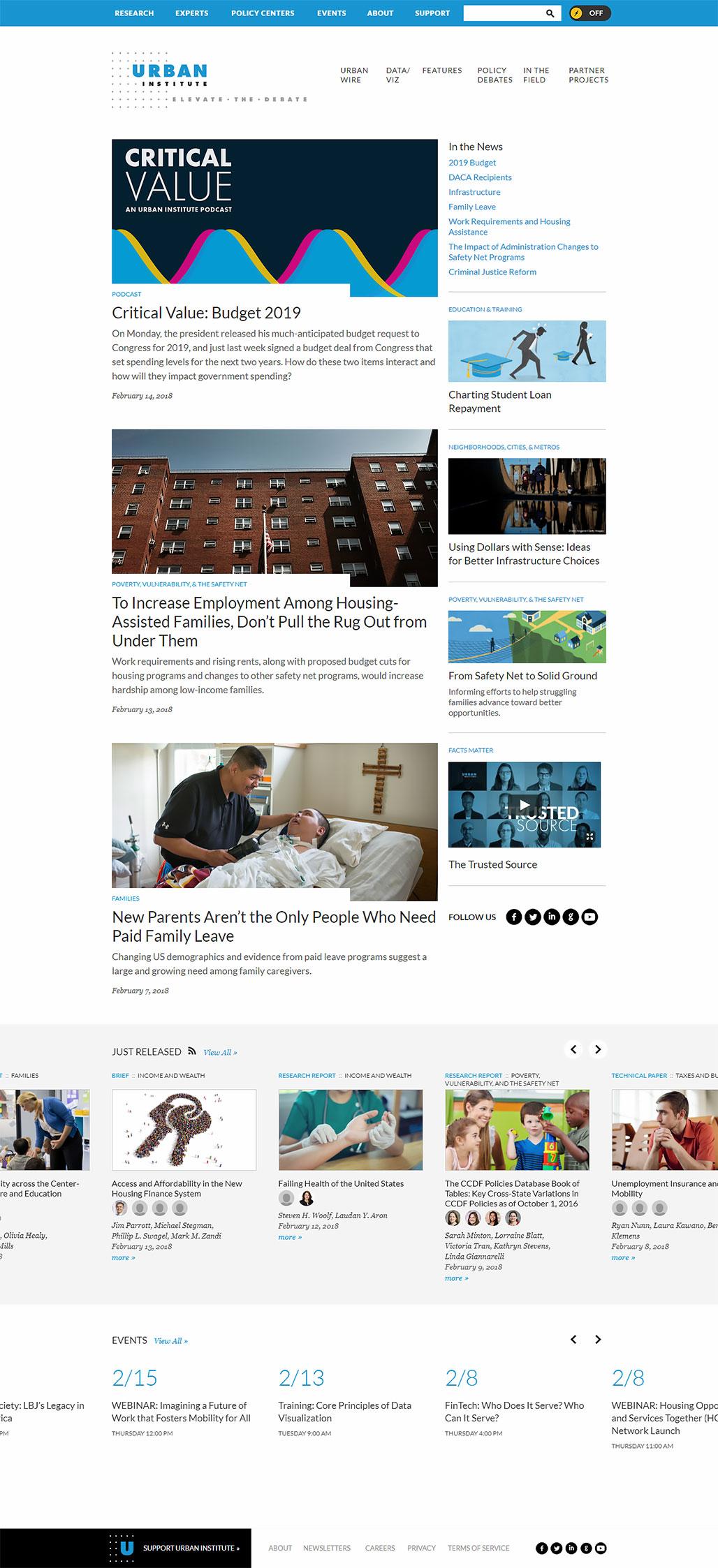 Сайт для Urban Institute